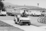 Richard Nixon Driving a Golf Cart in a Sidewalk to the Helipad at San Clemente, Ca. 1969-74 Photo