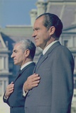President Nixon and the Shah of Iran Stand at His White House Arrival Ceremony. Oct. 11 1971 Photo