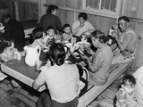 Japanese American Family at Meal Time in the Manzanar Internment Camp, 1940s Photo