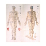 Chinese Chart of Acupuncture Points on a Male Body, 1956 Print