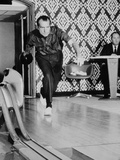 Richard Nixon Bowling at the White House Bowling Alley, 1970 Prints