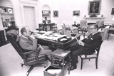 President Gerald Ford Meets with VP Nelson Rockefeller in the Oval Office, 1975 Photo