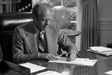 President Gerald Ford Signs His Program to Combat Crime, June 19, 1975 Photo