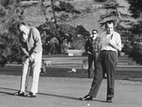 Richard Nixon Playing Golf with His Celebrity Friends Fred Macmurray and Bob Hope. Jan. 18 1970 Photo
