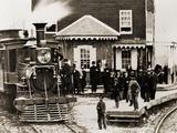 Locomotive Hanover Junction Railroad Station in Pennsylvania in 1863 Prints
