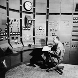 Enrico Fermi at Control Panel of a Particle Accelerator, in 1951 Prints