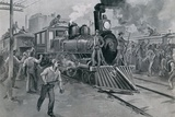 Federal Troops Guard a Train Against Strikers During the Pullman Strike. July 1894 Poster
