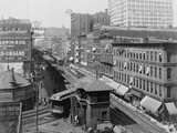 Bird's-Eye View of Chicago's Wabash Avenue, Showing Elevated Railroad, 1907 Photo