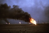 Retreating Iraqis Set Kuwaiti Oil Wells on Fire in the First Gulf War, March 1991 Photographic Print