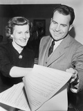 Vice-President Elect and Patricia Nixon Examine Election Results in 1952 Poster