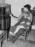 John Frost and Daughter Listening to their Radio, in 1940 Photo