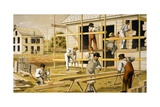 Carpenters at Work Building Two Houses, Ca. 1874 Posters