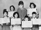 Six Chinese Immigrant Children with their Names in Chinese and English, 1964 Print