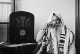 Yemenite Rabbi, in Traditional Robes and Prayer Shawl, Listening to Radio, 1937 Photo