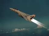 F-14 Tomcat Fighter Climbs with its Afterburners Ignited, May 1, 1989 Prints
