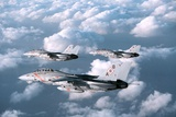 Three F-14 Tomcats Fighters Enforcing the No-Fly-Zone over Southern Iraq, 1998 Photographic Print
