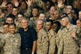 US Soldiers Gather around Pres. George W. Bush at Al Asad AFB, Iraq, Sept. 2007 Photo