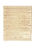 Thomas Jefferson's First Inaugural Address Written in His Own Hand, 1801 Prints