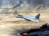 F-14 Fighter Flies over Burning Kuwaiti Oil During First Gulf War, March 1, 1991 Posters