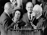 Earl Warren Swears in Lyndon Johnson as Lady Bird and VP Humphrey Look On, 1965 Posters