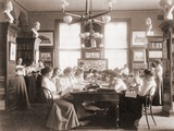 Young Women in Library of Washington, D.C. Teacher Training School in 1900 Prints