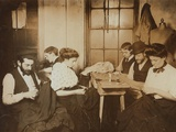 Garment Workers Sewing by Hand in a Small New York City Sweatshop In1908 Prints