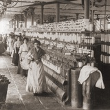 Women and Girls Working in the Spooling Room of a Cotton Mill in Malaga, Spain. 1898 Print