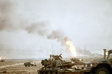 US Marine Following the Retreat of Iraqi Forces from Kuwait, Feb 27, 1991 Photographic Print