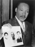Martin Luther King Holding Photographs of Three Murdered Civil Rights Workers, 1964 Photo