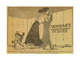 Cartoon of Woman Looking Beyond 'Woman's Sphere' in 1909 Art