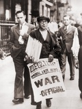 Newspaper Man Holding Newspapers and Sign 'Special Late News: War - Official,' 1939 Print