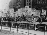 Teamster Union Signs Supporting Higher Pay and Pensions in NYC, 1954 Photo