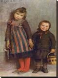 Chiusi Fuori di Scuola, 1859-1933 Stretched Canvas Print by Emilio Longoni