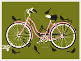 Girl Bird Bike Sérigraphie par  Methane Studios