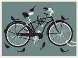 Boy Bird Bike Grey Sérigraphie par  Methane Studios