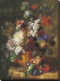 Bouquet Of Flowers In An Urn Stretched Canvas Print by Jan van Huysum