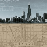 Chicago Map I Prints by  The Vintage Collection