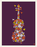 Flower Violin Serigraph by  Methane Studios