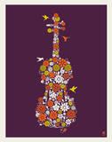 Flower Violin Serigraph by  Methane Studios