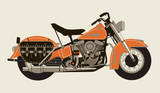1950 Orange Motorcycle Serigraph by  Methane Studios