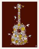 Flower Guitar Serigrafía por  Methane Studios