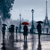 Paris Red Umbrella Art by Robert Canady