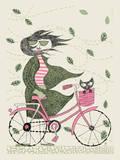 Fall Hipster Girl Bike Serigraph by  Methane Studios
