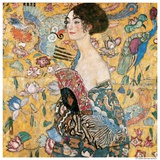 Woman with fan Kunstdruck von Gustav Klimt