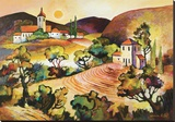 Tuscan Landscape 1 Stretched Canvas Print by Warren Cullar