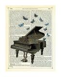 Piano & Butterflies Gicléedruk van Marion Mcconaghie