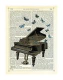 Piano & Butterflies Giclee Print by Marion Mcconaghie
