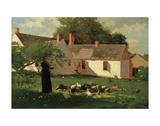 Winslow Homer - Farmyard Scene, c. 1874 Digitálně vytištěná reprodukce