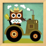 Owl on Tractor Prints by Nancy Lee
