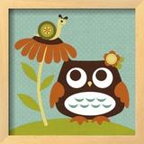 Owl Looking at Snail Print by Nancy Lee